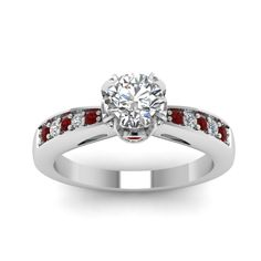 Women Wedding Rings with Red Ruby in 18K White Gold Cathedral Crown Set Round Diamond Ring exclusively styled by Fascinating Diamonds