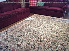 Brandon Oriental Rugs - #BucksCounty PA - This is a hand-knotted Pak-Persian #orientalrug purchased from us twenty years ago. We recently did #rugcleaning and fringe replacement on it. It is seen here back on the job in all its glory in our customer's #Doylestown home.