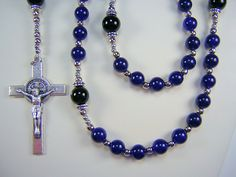 Mens Blue Rosary Jade St Jude Catholic Gemstone 24 inch Blue Jade and Black Onyx Beads Masculino Rosario Free shipping USA by TheGemBeadLink on Etsy