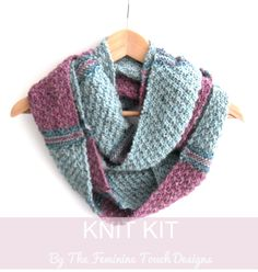 Infinity Scarf knitting kit , striped cowl , knitting pattern scarf , craft diy , birthday gift , diy kit , tutorial , christmas present by TheFeminineTouch on Etsy https://www.etsy.com/au/listing/257444342/infinity-scarf-knitting-kit-striped-cowl