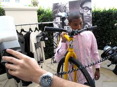 Pharrell Poses With Fixed Gear To Sell Clothes