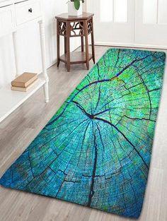Cracked Wood Pattern Flannel Antiskid Rug - GREEN W24 INCH * L71 INCH