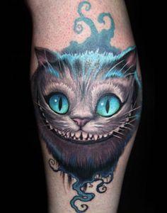 The Chesire Cat. Alice in Wonderland tattoo. #jamestattooart