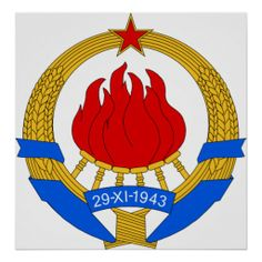 Coat of Arms Yugoslavia Official Heraldry symbnol Poster