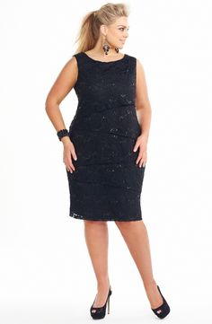 Layered Panel Sheath Dress/Black  Style No: ED5135 Beaded Stretch lace Sheath Dress. This dress has Diagonal layers on the front and back. The dress is lined in a stretch fabric and is below knee length. #dreamdiva #plussize