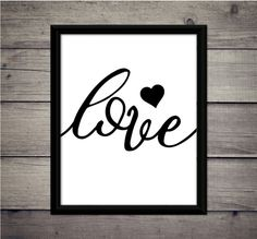 Love  Single Heart  Valentine's Day  by ThoughtWorksByAbby on Etsy