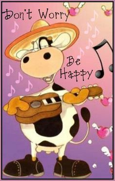 Don't worry be happy Cow Painting, Stone Painting, Picture Story For Kids, Cow Craft, Cow Drawing, Cow Gifts, Cow Pattern, Cute Cows, Simple Art