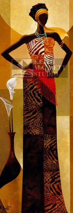 Stretched Canvas Print: Amira Canvas Art by Keith Mallett : African American Art, African Women, Female Poses, Female Art, African Quilts, African Fabric, Afrique Art, African Paintings, Black Artwork
