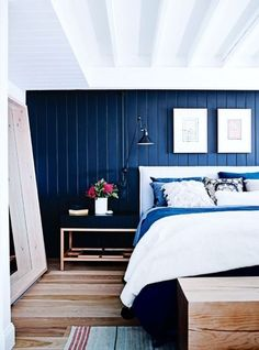 Shop the house: a six-bedroom former bakery turned family home - Vogue Living Blue Bedroom, Cozy Bedroom, Bedroom Decor, Master Bedroom, Vogue Living, Maroon 5, Melbourne House, Ship Lap Walls, Bed Head