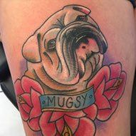color bulldog tattoo dog portrait rose roses blackwork girl and raven tattoo…