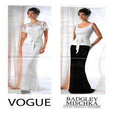 Vogue 2776, BADGLEY MISCHKA, Women Evening Gown, Sewing Pattern, Fitted Top, Fit Flare Skirt, Capelet, Red Carpet Dress, Size 12-14-16,UnCUT