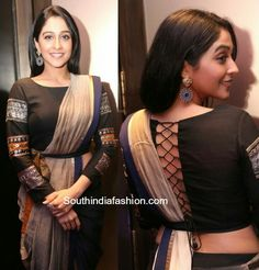 Flaunting the saree look with a peplum twist Regina Cassandra in a pant style saree photo Saree Blouse Neck Designs, Fancy Blouse Designs, Saree Blouse Patterns, Designer Blouse Patterns, Stylish Blouse Design, Indian Designer Outfits, Content, Saree Jackets, Regina Cassandra