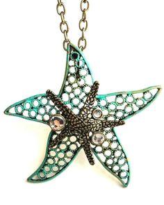 E2 Starfish Marine Ocean Sea Beach NECKLACE Sand Pendant White Gold Plated