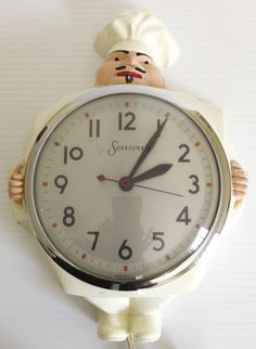 Chef Retro Kitchen Wall Clock Vintage 1950s Icon Telechron Rival