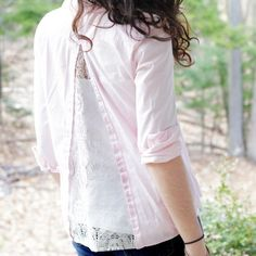 Learn how to upcycle a button-up top with this easy tutorial! Add a triangle of lace or other fabric to refashion a simple top.