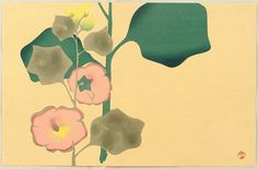 After Ogata Korin. Hollyhock. Originally in Edo era. Japan. This print was made probably in 1930s.