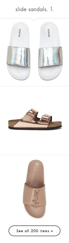 """""""slide sandals, 1."""" by theimanimo ❤ liked on Polyvore featuring shoes, sandals, mesh sandals, mesh material shoes, mesh shoes, platform slide sandals, double strap sandals, slide sandals, leather platform sandals and flat slide sandals"""