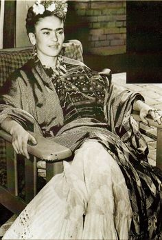 A rare photo of Frida Kahlo showing her teeth when smiling.