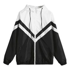 Color Block Zig Zag Windbreaker Jacket (€17) ❤ liked on Polyvore featuring jackets and outerwear