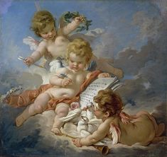 *Rococo Revisited - Cupids (Allegory of Poetry). Renaissance Kunst, Renaissance Paintings, Angel Aesthetic, Aesthetic Art, A Course In Miracles, Classic Paintings, Classical Art, Angel Art, Old Art