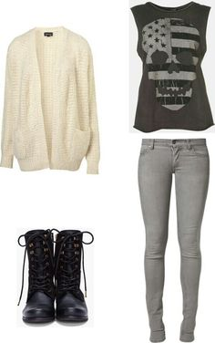 Rocker girl outfit... This would look cute with a beanie to