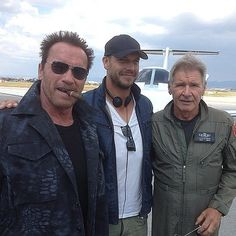"""""""The Expendables 3"""" (Aug. 2014) Arnold Schwarzenegger and Harrison Ford on set for first day of shooting!"""
