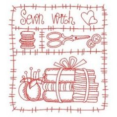 Redwork I Love Sewing