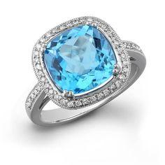 MK 14K White Gold Blue Topaz Ring