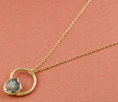 Genuine 1 Piece Natural Fire Raw Opal  Gemstone Pendant Chain,24k Gold Plated Gemstone Pendant,Gemstone Pendant Jewelry,Opal Pendant LE030 by LeejewelCreations on Etsy
