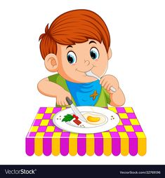 Vector illustration of A young boy sitting while enjoy having breakfast
