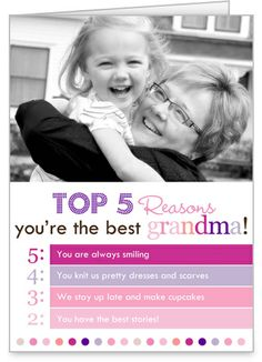Top Reasons Grandma Mother's Day Card