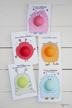 free printable Monster valentines with EOS lip balm noses. From theidearoom.net