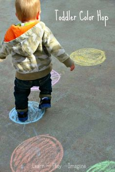 Teach colors through play!  Gross motor activity to teach color recognition