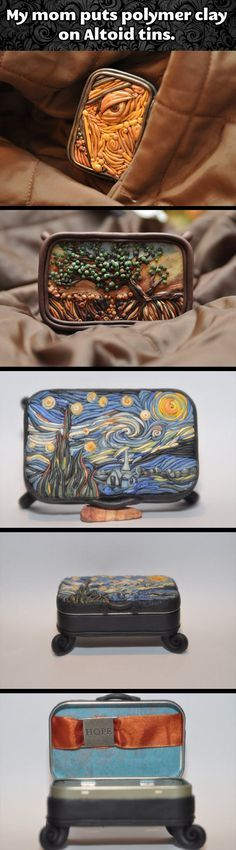 """cool-art-polymer-clay-Altoid-tins  these are """"neat"""" neat art is nice, or is that nice art is """"neat""""? either way!"""