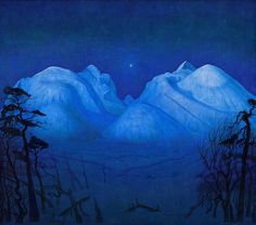 Harald Sohlberg, Winter Night in the Mountains, National Museum of Art, Architecture and Design, Oslo Painting Norway - Harald Sohlberg at Dulwich Picture Gallery Blue Dream, Nocturne, Delft, Dulwich Picture Gallery, Google Art Project, Oil Painting Reproductions, Winter Night, Berg, National Museum