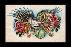 Eagle Tattoo Flash Print 12x18 by amybird on Etsy, via Etsy.