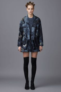 By Designer: Valentino. Collection: Pre-Fall 2016. Made of: 98% cotton, 2% elastane denim. Colors: denim blues. Item Features: beautifully designed, kimono-esque style, cut-out underarm vents, tie waist, fairly straight cut body, not lined, slot pockets.   eBay!