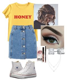 """""""Jean Dreams: Denim Skirts"""" by caleighb2 ❤ liked on Polyvore featuring MIEL, Topshop, Converse, Messika and denimskirts"""