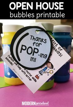 Open House Bubbles Printable for Preschool & Kindergarten