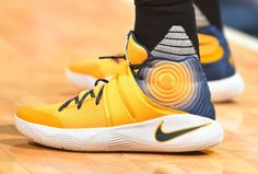 Kyrie Irving Wearing a Navy/Yellow Dye Graphic Nike Kyrie 2 PE (1)
