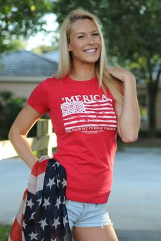 $26.99  'MERICA TEE Red USA TShirt Shop Simply Me Boutique Country Junkie – www.SHOPSIMPLYME.com    #shopsimply