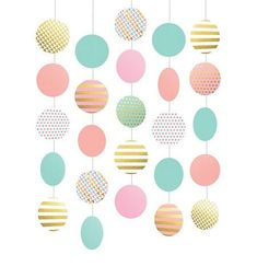 Set Of 5 Golden Metallic & Pastel 5 Ft String Decorations With