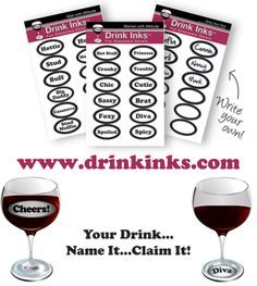 Wine & Cheese Party. Drink Inks are static cling drink decals (no licking and no sticker residue). They're removable, reusable, and they can be used on glass, crystal, acrylic and plastic. Just pat them on the surface and they stick! They're a fun addition to a party, and it's an easy way for people to keep track of whose drink is whose.