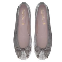 Pretty Ballerinas stone snake printed nubuck silver flashes