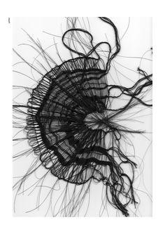 Black weaving | horsehairweaving 2002 | Marianne Kemp. Textiles Techniques, Art Techniques, Horse Jewelry, A Level Art, Weaving Art, Fabric Manipulation, Textile Artists, Hair Art, Fabric Art