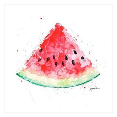 / aquarela / Aquarell - New Site Watercolor Fruit, Watercolour Painting, Art And Illustration, Art Du Croquis, Watermelon Art, Watermelon Carving, Cool Sketches, Painting Inspiration, Banners