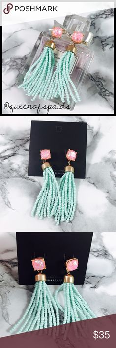 Pink Glitter & Teal Bead Tassel Stud Earrings Gorgeous teal tassel and stud earrings in pink glitter studs! Can be worn with or without tassels. Made exclusively by Sparklepop!   ♠️No Trades ♠️No Off Posh Transactions ♠️Price is firm unless combined w/ bundle discount Jewelry Earrings