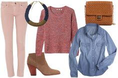 pale pink pants, chambray shirt, marbled pink sweater, brown accessories