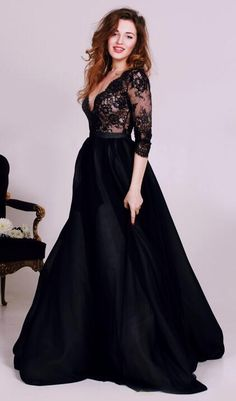 black long prom dress, elegant 2018 prom dress, half sleeves black long prom dress formal evening dress