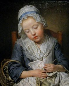 Jean Baptiste Greuze, Young Knitter Asleep, 1759 18th century Portrait of Girl